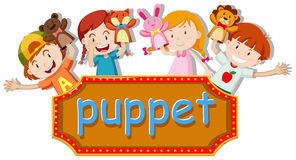 Children playing hand puppets Royalty Free Stock Photo