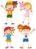 Children playing with hand puppets Stock Images