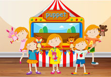 Children playing with hand puppets Royalty Free Stock Photo