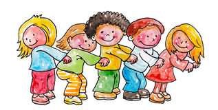 Children playing happily. Children play in a line smiling and joking Royalty Free Stock Photos