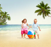 Children Playing Happiness Cheerful Beach Summer Concept Royalty Free Stock Image
