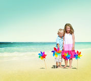 Children Playing Happiness Cheerful Beach Summer Concept Royalty Free Stock Photos