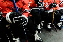 Children playing hockey. Boys, players Royalty Free Stock Photos