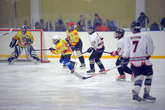 Children playing hockey Stock Photo