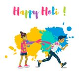 Children playing holi .Happy holi festival greeting card and vector design. Colorful illustration cartoon flat style with spashes of paints Stock Images