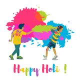 Children playing holi .Happy holi festival greeting card and vector design. Colorful illustration cartoon flat style with spashes of paints Royalty Free Stock Photos