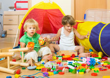 Children playing at home Royalty Free Stock Image