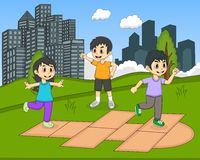 Children playing hopscotch at the park cartoon Stock Photo