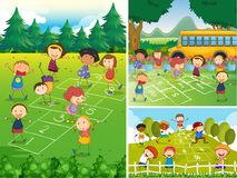 Children playing hopscotch in the park. Illustration Stock Image