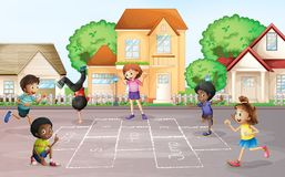Children playing hopscotch at village. Illustration vector illustration