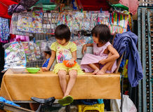 Children playing at the house in Manila, Philippines Royalty Free Stock Images