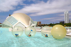 Children playing in huge bubbles, Valencia Stock Images