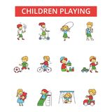 Children playing illustration, thin line icons, linear flat signs, vector symbols. Children playing illustration, thin line icons, linear flat signs, outline Royalty Free Stock Photos