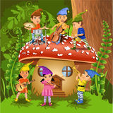 Children playing instruments. Vector illustration of children in a fairytale scene playing instruments Royalty Free Stock Photography