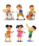 Children playing instruments. Vector set of children playing different instruments Royalty Free Stock Photo