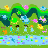 Children playing, kids world. Illustration Stock Photos