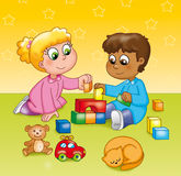 Children playing in a kindergarten. Young blond girl playing with young black skinned boy in a kindergarten stock illustration