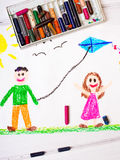 Children playing with a kite. Colorful drawing: Children playing with a kite Royalty Free Stock Image