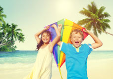 Children Playing Kite Happiness Cheerful Beach Summer Concept Stock Images