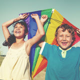 Children Playing Kite Happiness Cheerful Beach Summer Concept Stock Photo