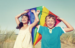 Children Playing with the Kite Outdoors Royalty Free Stock Photos
