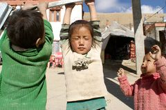 Happy children playing, Ladakh, India Royalty Free Stock Images