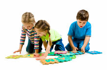 Children are playing letters Royalty Free Stock Photography