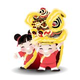 Children playing lion dance. Cartoon character for Chinese new year. Little boy and girl performing chiness lion dance on white background. Vector illustration royalty free illustration