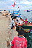 Children are playing in the Ly Son island of Vietnam Stock Photo