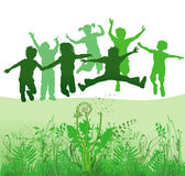 Children playing in meadow royalty free illustration
