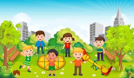 Children playing in the middle of the park against the backdrop of the city. Vector royalty free illustration