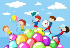 Children playing music in the band. Illustration Stock Images