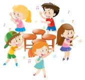 Children playing music chair Stock Photo