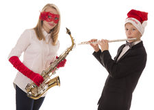 Children playing music for Christmas Royalty Free Stock Photo
