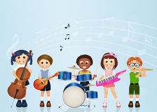 Children playing music Royalty Free Stock Images