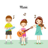 Children Playing Music By Melodeon, Guitar And Violin Stock Photos