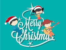 Children playing music on Merry Christmas tree Royalty Free Stock Image