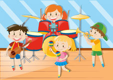 Children playing music together Royalty Free Stock Image