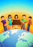Children Playing Musical Instruments Royalty Free Stock Photos