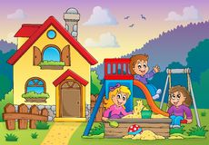 Children playing near house theme 1 Royalty Free Stock Image