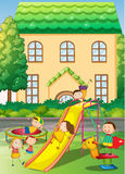Children playing in the neighborhood playground. Illustration Royalty Free Stock Image