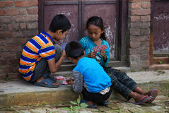 Children playing Nepal stock photography