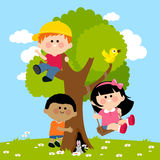 Children Playing On A Tree Stock Photo