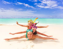 Children Playing On Beach Stock Images
