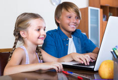 Children playing online on laptop Royalty Free Stock Photo