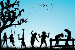 Children playing outdoor. Children black silhouettes playing outdoor Royalty Free Stock Image