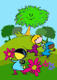 Tree, Flowers and Green Grass, Cartoon for Baby Children-Diversity Stock Images