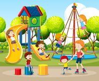 Children playing outdoors scene. Illustration stock illustration