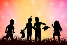 Children playing outdoors Royalty Free Stock Images