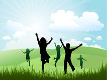 Children playing outside on a sunny day. Silhouettes of children running and playing on a hill vector illustration